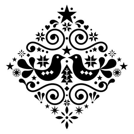 Christmas Scandinavian floral folk art vector design square or diamond shape, monochrome cute winter Nordic pattern with birds, Christmas tree and snowflakes