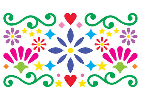 Mexican folk art vector pattern, vibrant design with flowers greeting card inspired by old designs from Mexico