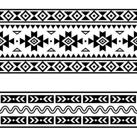 Aztec Navajo geometric seamless trendy vector two patterns set, repetitive designs in black pattern on white background