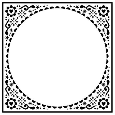 Scandinavian folk greeting card or wedding invitation vector design, floral ethnic pattern in black on white