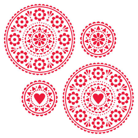 Scandinavian folk style vector mandala design set - cute greeting card on inviation round patterns with hearts and flowers Иллюстрация