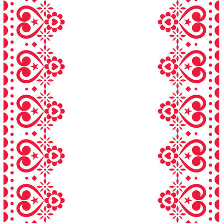 Valentine's Day vector greeting card repetitive design or wedding inviatation - Scandinavian seamless embroidery folk art style design with flowers and hearts