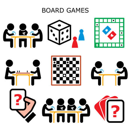 Board games, people playing cards and chess or draughts at the table vector color icons set, fun activity while staying at home with friends and family
