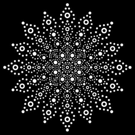 Australian mandala dot painting tribal vector design, Aboriginal decorative boho style dot art pattern in white on black background Vector Illustration