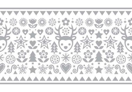 Christmas Scandinavian folk art vector gray seamless pattern, cute festive design with reindeer, snowflakes, hearts, stars, Christmas trees and flowers