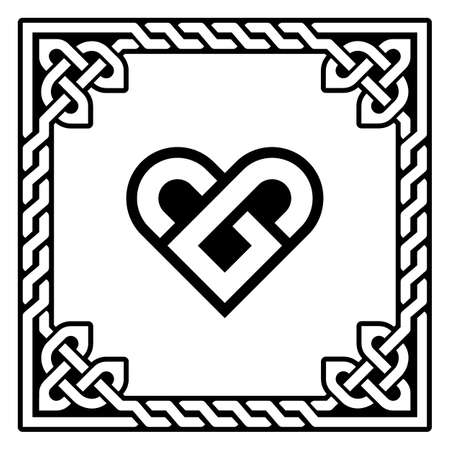 Celtic heart vector greeting card design with Irish braided frame - Valentine's Day, love concept