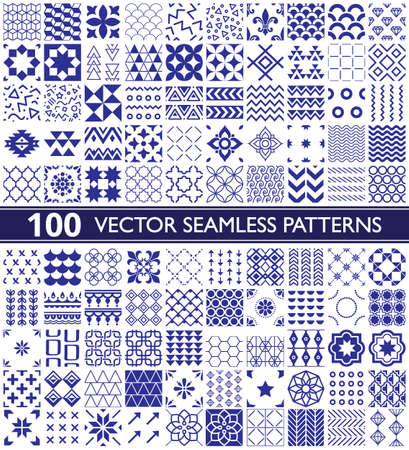 100 vector seamless pattern collection, geometric universal patterns and tiles - big pack in navy blue