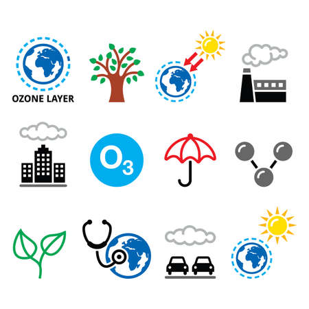 World ozone day, ecology, climate change vector icons set - green, eco concept