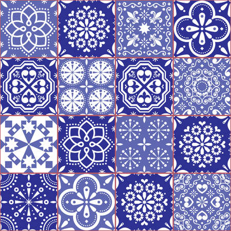 Portuguese Azulejo tile seamless vector pattern, Lisbon geometric and floral navy blue retro tiles design collection