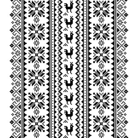 Ukrainian, Belarusian folk art vector seamless pattern in black and white, inspired by traditional cross-stitch design Vyshyvanka
