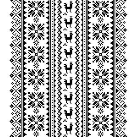 Ukrainian, Belarusian folk art vector seamless pattern in black and white, inspired by traditional cross-stitch design Vyshyvanka