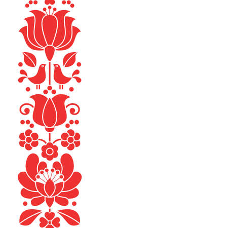 Hungarian folk art vector greeting card or wedding invitation, red floral design inspired by traditional embroidery