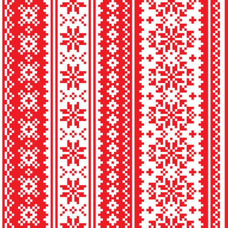 Christmas Scandinavian vector seamless pattern - red and white festive knitting, cross-stitch vertical oriented design with snowflakes