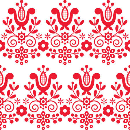 Seamless pattern of floral decorative folk art embroidery Illustration
