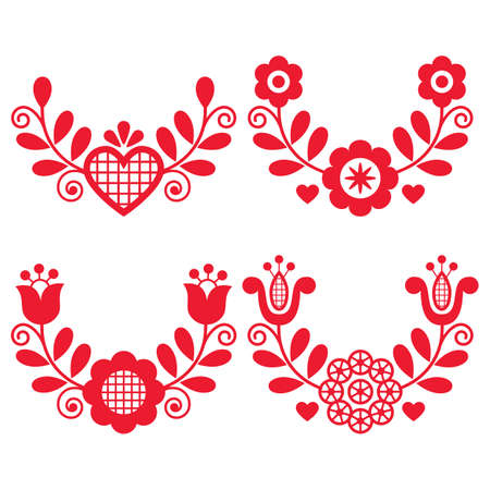 Polish folk art vector wreath design collection with flowers and hearts - perfect for greeting card or wedding invitation