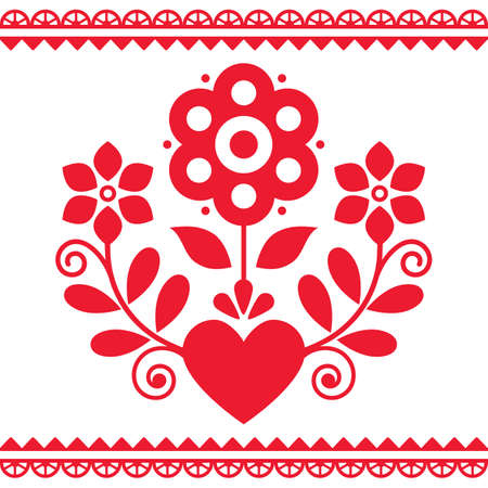 Polish folk art vector design with flowers and heart perfect for Valentine's Day greeting card or wedding invitation