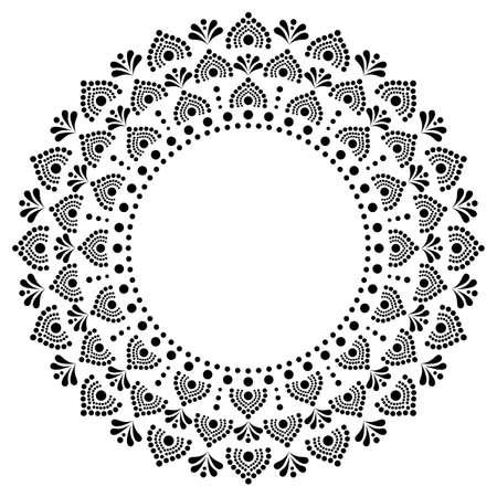 Mandala bohemian vector dot painting vector design, Aboriginal white traditional decorative pattern in black on white background, Australian mosaic art