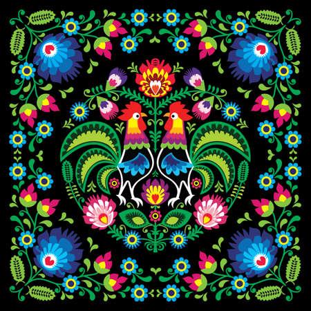 Polish retro folk art square vector pattern with roosters and flowers - wzory lowickie, wycinanki on black background Ilustracje wektorowe