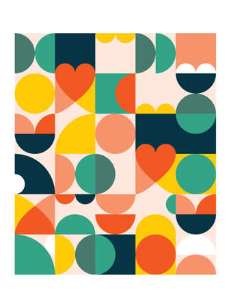 Geometric vector poster print in 18x24 format - 60's and 70's mid-century modern pattern with circles, hearts and abstract shapes