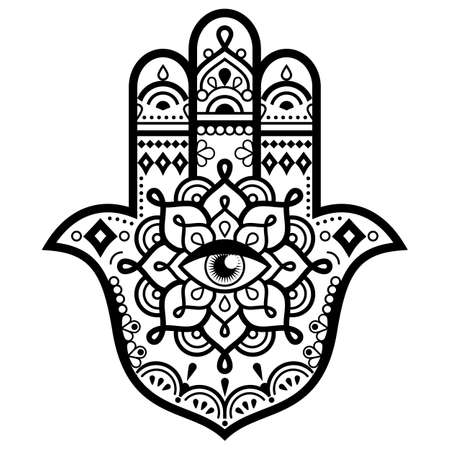 Hamsa hand with mandala vector design - decorative evil eye symbol of protection