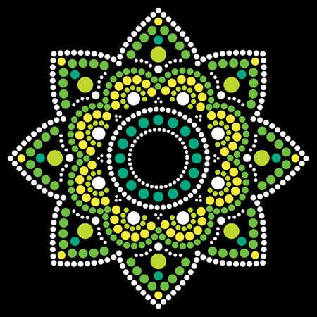 Dot painting vector ethnic mandala, traditional Aboriginal dot painting design, ethnic floral decoration from Australia