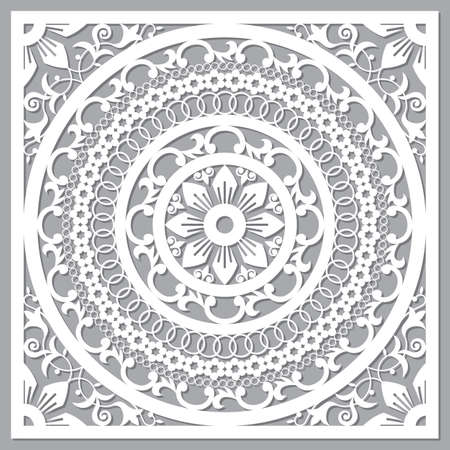 Traditional Moroccan art carved mandala inspired design, vector arabic pattern with flowers, leaves and swirls