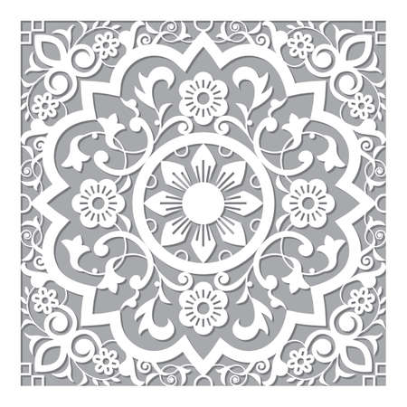 Moroccan retro carved mandala inspired design, vector arabic pattern with flowers, leaves and swirls Ilustração