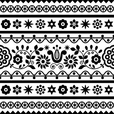 Polish folk art vector seamless embroidery retro pattern with flowers inspired by embroidery designs Lachy Sadeckie - black and white textile or fabric print ornament Ilustração