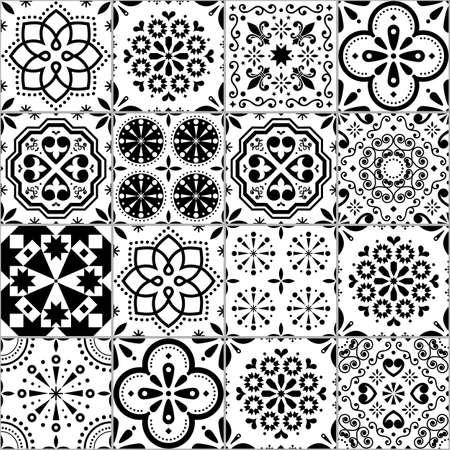 Portuguese Azulejo tile seamless vector pattern, Lisbon geometric and floral black and white retro tiles design collection Ilustração