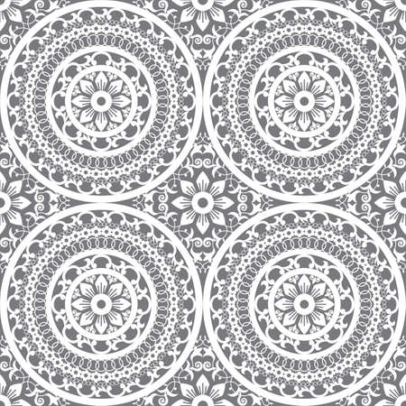 Traditional Moroccan mandala vector seamless pattern, arabic textile or fabric print design with flowers, leaves and swirls