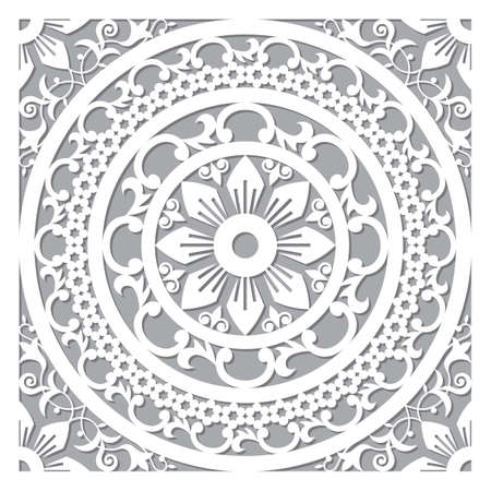 Traditional vector mandala design - Moroccan carved wall panels art, vector arabic pattern with flowers, leaves and swirls