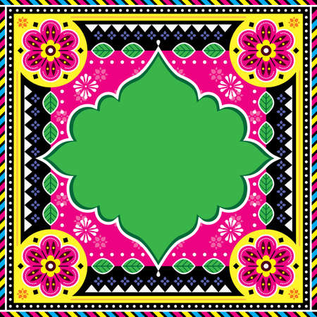 Pakistani or Indian truck art template design - greeting card, invitation or poster background