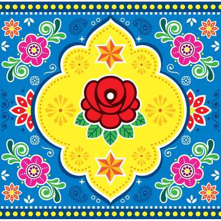 Indian and Pakistani truck art vector seamless pattern design with rose, other flowers, stars and swirls