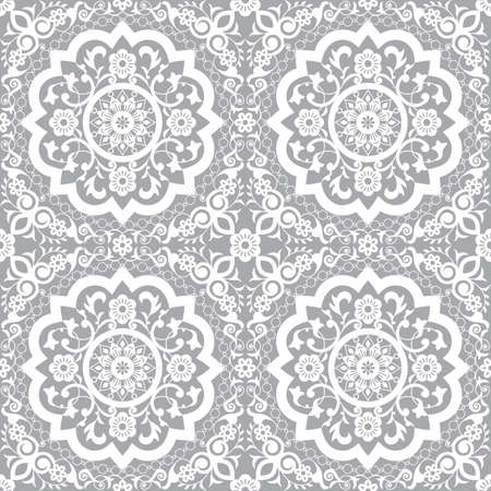 Traditional Moroccan art carved mandala inspired seamless pattern, vector arabic decor with flowers, leaves and swirls