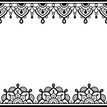 Mehndi - Indian henna tattoo style vector greeting card or invitation design pattern with mandalas and geometric shapes