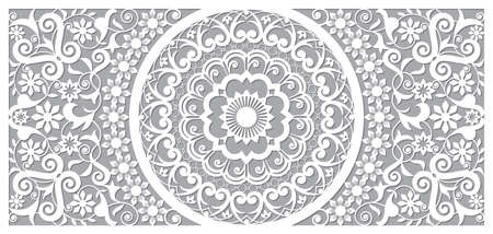 Moroccan vector openwork mandala design in recatangle DL format, inspired by the old carved wood wall art patterns from Morocco