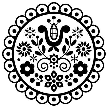 Polish cute folk art vector round framed design with flowers and leaves - black and white greeting card or wedding invitation ornament