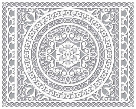 Openwork vector mandala design in ractanle inspired by the oriental carved wood wall art patterns from Marrakesh in Morocco - 4x5 format