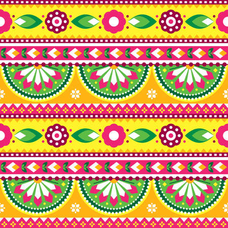 Indian and Pakistani truck art vector seamless pattern design, Diwali vibrant textile or fabric print pattern with floral motif