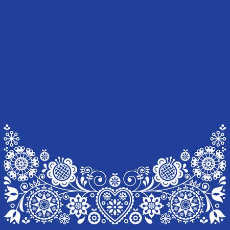 Folk art retro vector greeting card design, floral ornament inspired by Scandinavian art in white on navy blue Ilustração