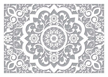Moroccan retro carved mandala in ractangle frame inspired design, vector detailed arabic pattern with flowers, leaves and swirls - 5x7 format