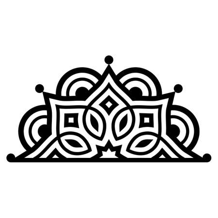 Indian half mandala vector pattenr, geometric black design perfect for greeting card or wedding invitation