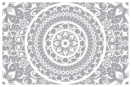 Traditional vector mandala in rectangle design, Moroccan carved wall panels art, vector arabic pattern with flowers, leaves and swirls - 6x9 format