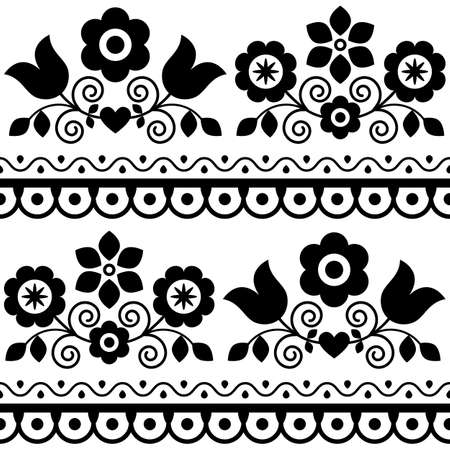 Retro vector seamless textile or fabric print with floral motif, black and white pattern with flowers - Polish folk art Lachy Sadeckie