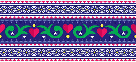 Indian and Pakistani truck art vector long stripe seamless pattern design with flowers and hearts
