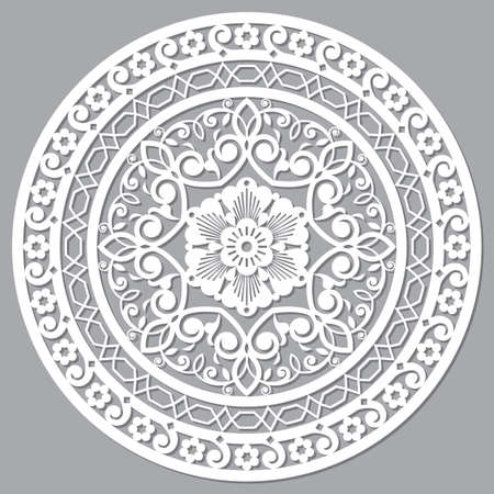 Moroccan openwork mandala vector design inspired by the boho arabic carved wood wall art patterns from Marrakesh in Morocco