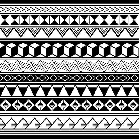 Polynesian ethnic geometric seamless vector pattern, retro Hawaiian tribal repetitive design in black and white Ilustração