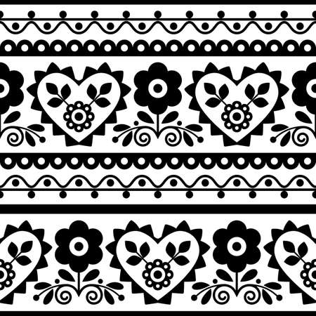 Polish traditional vector black seamless pattern with flowers and hearts inspired by folk art embroidery Lachy Sadeckie - textile or fabric print ornament