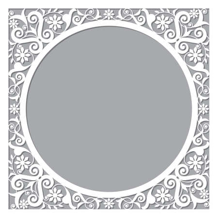 Moroccan openwork vector frame or border design with corners - perfect for greeting card or wedding invitation