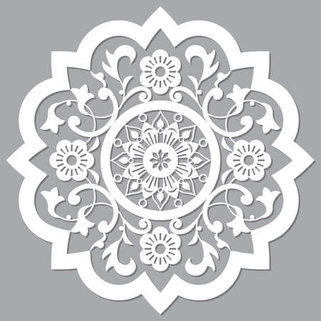 Moroccan retro carved mandala design, vector detailed arabic pattern with flowers, leaves and swirls
